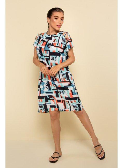 p70374 vestido curto praia estampado geometrico nova colecao