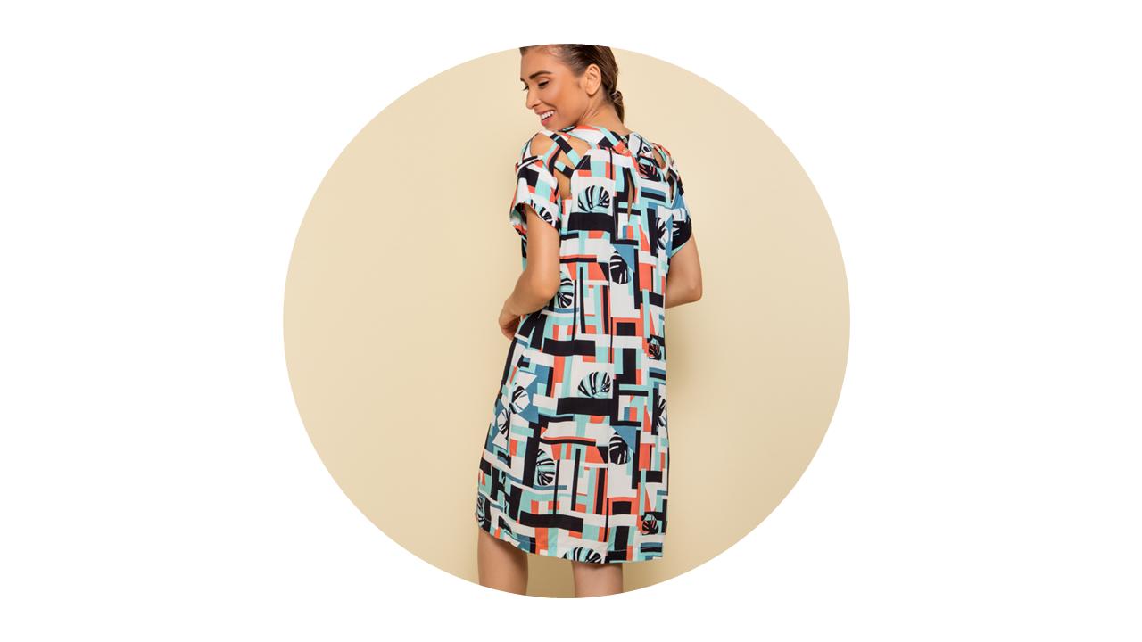 p70374 vestido curto praia estampado geometrico nova colecao 2