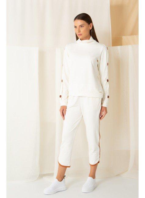 conjunto moletom inverno mardu branco botao calca longa gola