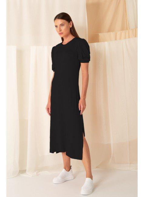 vestido canelado manga curta bufante midi preto 3
