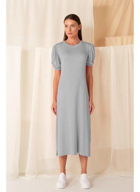 vestido canelado manga curta bufante midi mescla cinza 3