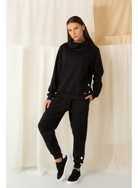 conjunto moletom inverno mardu preto botao calca longa gola jogger
